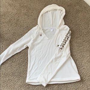 White Sweatshirt with Ties Size M